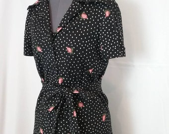 Vintage 70s Diane Von Furstenberg rare Rose dot print knit dress and blouse set