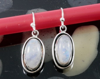 Moonstone and Silver Earrings  -- 6014