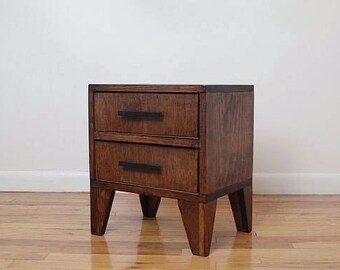 Angle Leg Square Reclaimed Wood Nightstand with Drawers, Side Table, End Table Storage- Walnut