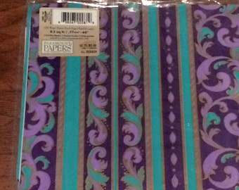 Vintage All Occasion Wrapping Paper, New Old Stock Wrapping Paper, Vintage Gift Wrap, Paramount Paper, Purple & Green Paisley Print