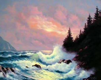 Oregon Coast Sunset oil on canvas