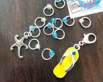 Exclusive Y Splash Pad Party Stitch Marker Set, ring markers, knitting supplies, notions, stitchmarkers, knitter gift, progress keeper, flip