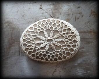 Crocheted Stone, Handmade One of a Kind Unique Decorative Doily Rock, Flower, Bohemian Beach, Small, Latte Foam Beige Miniature Art, Monicaj
