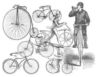 7 Vintage bicycle .abr brushes with corresponding .png files