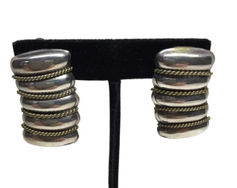 Sterling Silver Clip On Earrings with Brass Accent, Taxo Mexico c1980's
