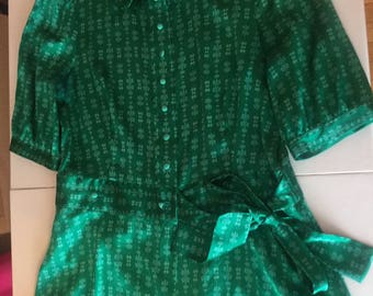 Blouse, Green Blouse,Bow Tie Waist,Penguin Original,St.Patty's Day Ultramarine Green,Silk Blouse, Ladies Blouse,Vintage Clothing