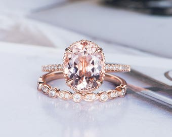Art Deco Morganite Engagement Ring Wedding Women Diamond Bridal Set Halo Rose Gold Eternity Oval Cut Multistone Gift for Her