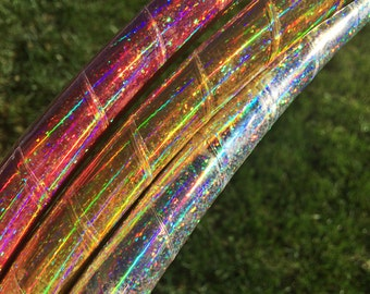 "Sequin Rainbow Sheen Sparkle HDPE or POLYPRO Performance Dance & Exercise Hula Hoop - Sparkle 5/8"" 3/4"" gold coral silver glitter"