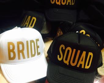Bride SQUAD Hats - FREE white BRIDE Hat - Perfect for Bachelorette Parties - Trucker hat, mesh Snapback