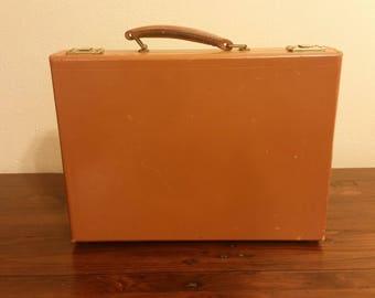 Vintage Men's Tan Brown Saddle Cowhide Leather Slim Hard-Case Briefcase Attache Lawyer Doctor Case