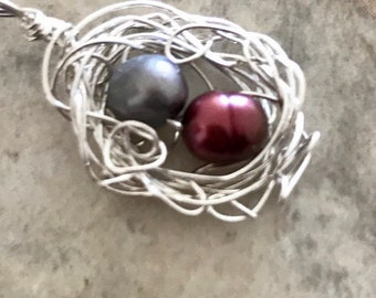 Messy Birds Nest Sterling Necklace Mothers Grandmothers  your choice of Zodiac Colors Birth Stones Real Pearls Silver