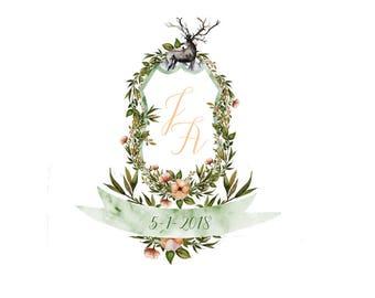 HIGHLAND CREST Suite - Printable Template Wedding Invitation & RSVP Card - Boho Watercolour Design by Flamboyant Invites