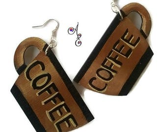 Coffee Mug Earrings, Wood Hand Painted Statement Earrings for Coffee Lovers, Food Earrings, Upcycled Earrings