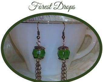 Green and Copper Earrings, Green Glass Beaded Earrings, Glass Bead and Copper Chain