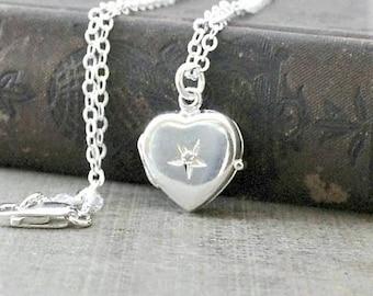 April Birthstone Locket Necklace, Small Silver Heart Locket, Sterling Silver Locket, Tiny Heart Locket, Genuine Diamond Locket, Push Gift