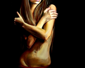 Her Last Embrace, oil painting,30x40, wall art, emotional art, home decor,