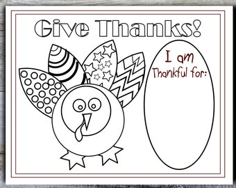Printable Thanksgiving Placemat 8.5x11 8.5x14 11x17