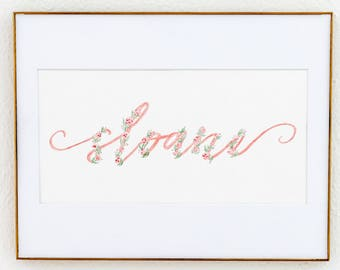 Pink and Green Script Custom Watercolor Name