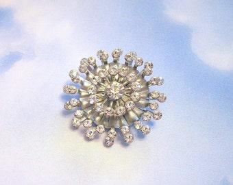 Vintage Starburst Brooch Rhinestone Crystal Silvertone