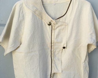 Pixie, Handmade, Embellished Linen, Earthen, Forest Spirit Top