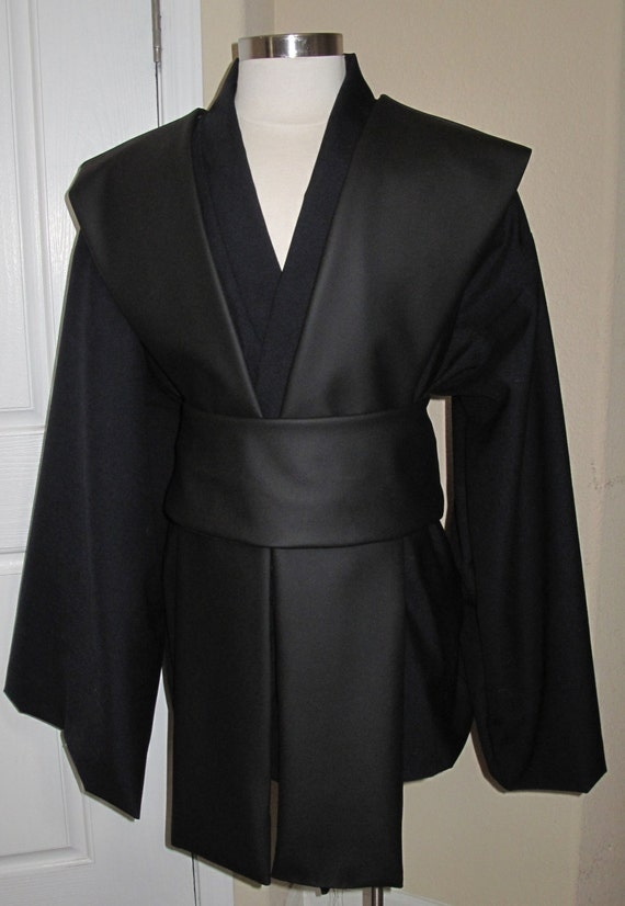 Jedi Sith midning blue tunic and black pleather tabards  with sash 4 piece costume