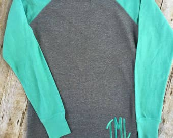 Womens Monogrammed Pullover, Raglan Fleece Sweatshirt, Womens Monogrammed Tunic Shirt, Hi Lo Fleece Tunic Sweatshirt, Christmas Gift Teen,