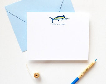 Personalized Note Cards | Fish Personalized Stationery | Marlin Fish Notes