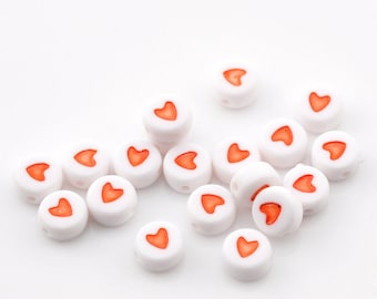 Alphabet Beads Heart bead Red and White 7mm flat 100 pcs