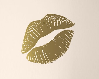 "Kiss Mark Wall Decal, Lips Decal, Gold Lips Wall Art, Lipstick Mark, Girls Bedroom Decor, Large Size, 23"" wide"