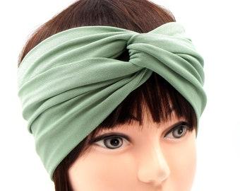 Mint green Headband Twisted/Summer hair accessory boho headband wide/Sage green Headband turban/Wide head wrap turband green/boho headband/