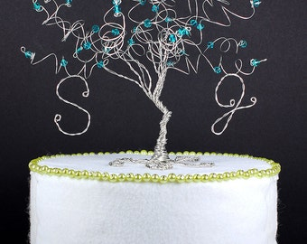 Peacock Blue Wedding Cake Topper Wire Tree Sculpture