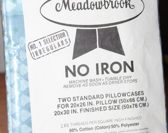 Blue Diamond Meadowbrook No Iron Pillowcase Pair -- 2 Standard Pillowcases -- Cotton, Polyester, Blue, Green