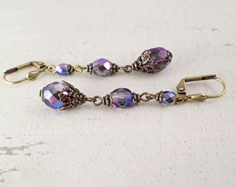 Long Iridescent Victorian Style Lever Back Earrings with Antiqued Brass Filigree - Colorful Czech Glass Beaded Jewelry