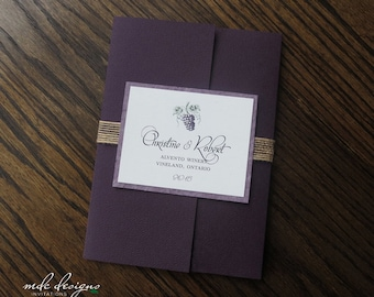 Niagara - Eco-Friendly Winery Wedding Invitation - Recycled Pocketfolder - Deposit