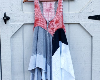 Lagenlook- Tank, Summer Tunic, Tank Tunic, Summer Top, Medium, Red Tunic, Upcycled Clothing, Recycled Clothing