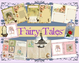 Digital, Printable, Album Fairy Tales. Ten Fairy Tales, Journal, Vintage Fairy Tales Album,  8.5 x 11, Fairy Journal,  Instant download