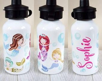 mermaid personalised water bottle personalized bottle girls water bottle mermaid bottle mermaid gift kids water back to school mermaids gift