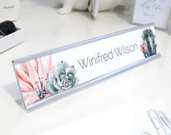 "Custom Succulent Name Plate ""Winifred"" - Personalized Desk Name Plate Sign Decor - Office Accessories - Wall Mount Option"