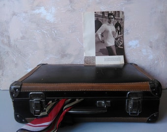 Vintage suitcase,Imitation leather suitcase, Brown Portfolio Travel case Camera inside Cardboard,Imitation leather, Made in the USSR