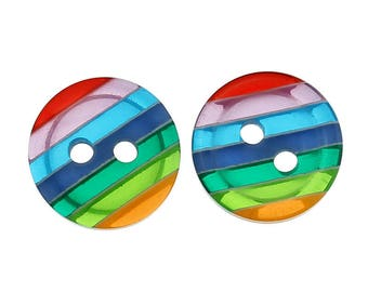 set of 6 Rainbow buttons