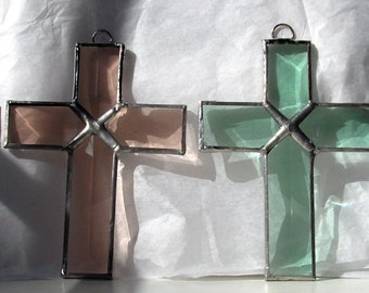 Crosses in Beveled Stained Glass