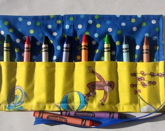 Crayon Roll Up Crayon Holder Curious George - Holds 8 Crayons