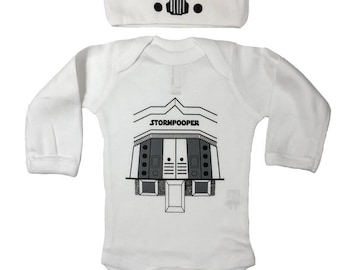 Storm Pooper Star Wars Baby Long Sleeve Bodysuit Set of a Beanie and a One Piece Lap Shoulder Outfit Costume May The Force Be With You