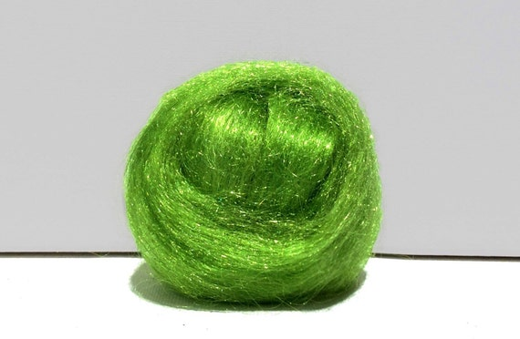 Key Lime green Firestar, Needle felting, Wet Felting, Spinning Fiber, roving, .5 oz, light green, Spring Green, similar to Icicle Top, glitz