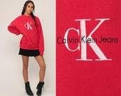 Calvin Klein Sweatshirt 90s CK Jeans Shirt Slouchy Hipster Red Sweatshirt Pullover Jumper Vintage Streetwear 1990s Extra Large xl 2xl