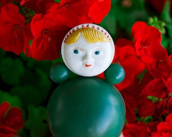1950's Nevalyashka Doll / Rare Soviet Vintage Mid Century Celluloid Green Tilting Doll / Cute Collectible Antique Russian Roly-Poly Toy