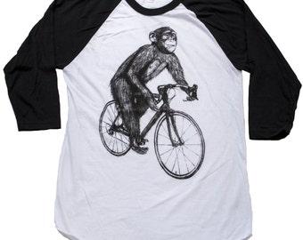 Llama on a Bicycle - Baseball Raglan Tee, Mens T Shirt, Unisex Tee, Cotton Tee, Handmade graphic tee, Bicycle shirt, Bike Tee, sizes xs-xxl