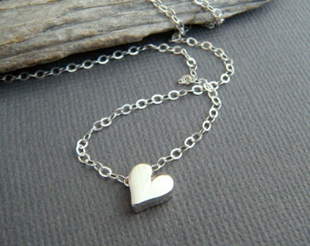 tiny heart necklace. sterling silver small bead romantic dainty jewelry petite simple charm delicate everyday pendant valentines gift 1/4""