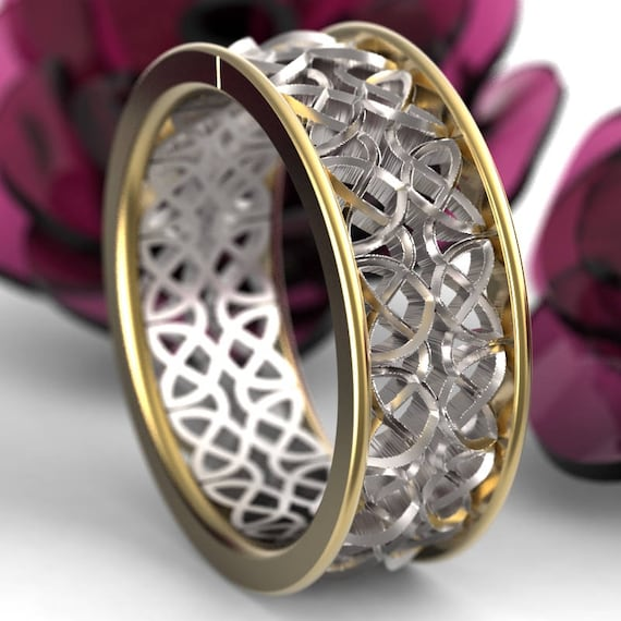 Celtic 2-Tone Wedding Ring With Mirrored Dara Knotwork Design Made in 10K 14K 18K Gold or Palladium, Made in Your Size cr-639