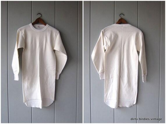 Thermal Mini Dress | White Tunic Top | Long Sleeve Long Underwear Shirt | Vintage 80s Grunge Hipster Punk Work Utility Shirt Unisex